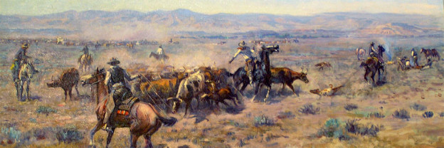 """Roundup #2,"" oil, 1913. C.M. Russell, Montana Historical Society MacKay Collection, Helena, MT"